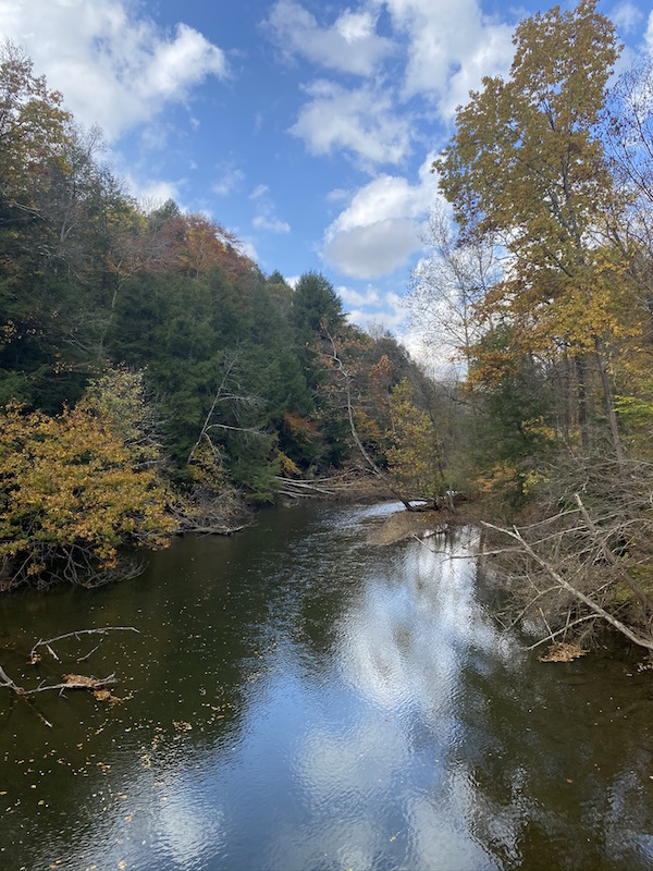 view of the Mohican River in the fall.