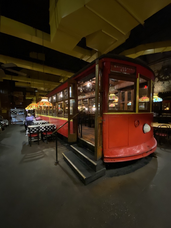a train car inside Spaghetti Warehouse in Columbus