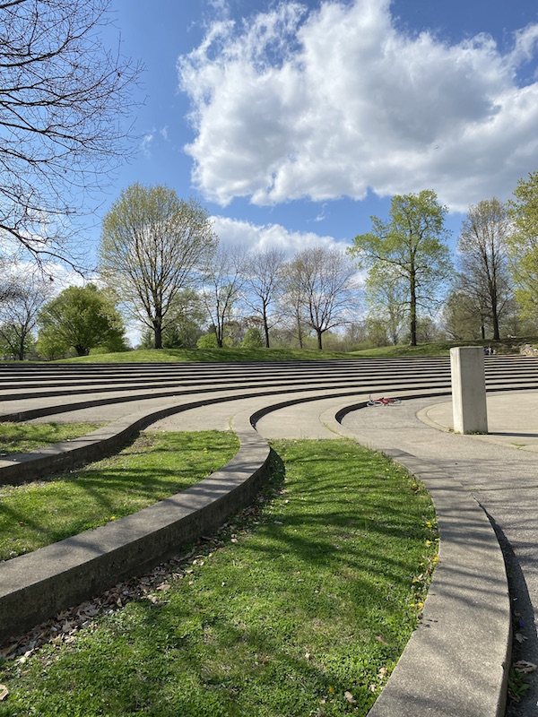 The amphitheater seating area in Franklin Park.