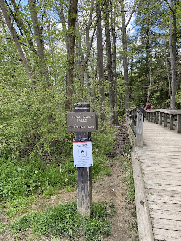 trail sign at Brandywine Falls.