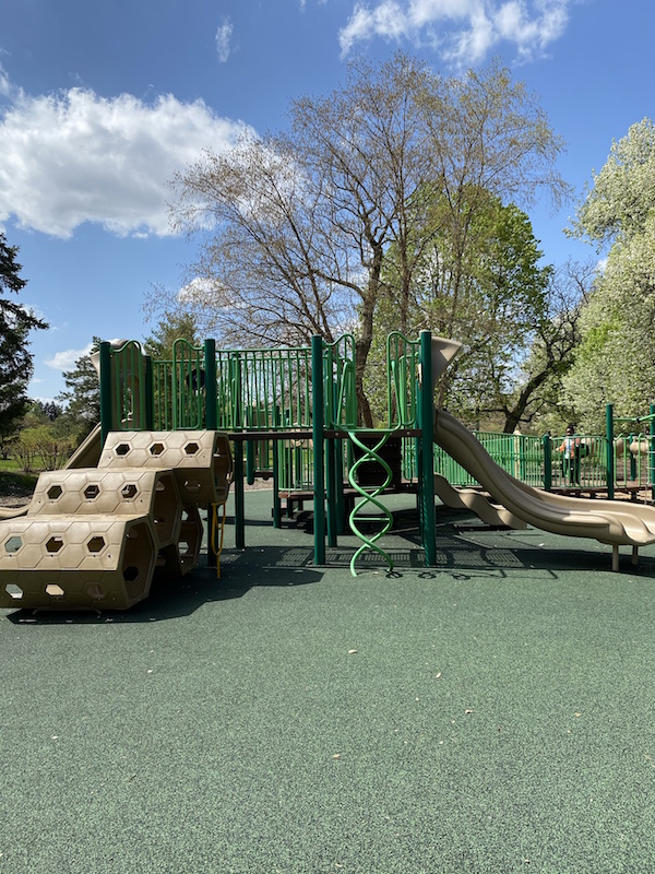 A play structure in the playground at Franklin Park.