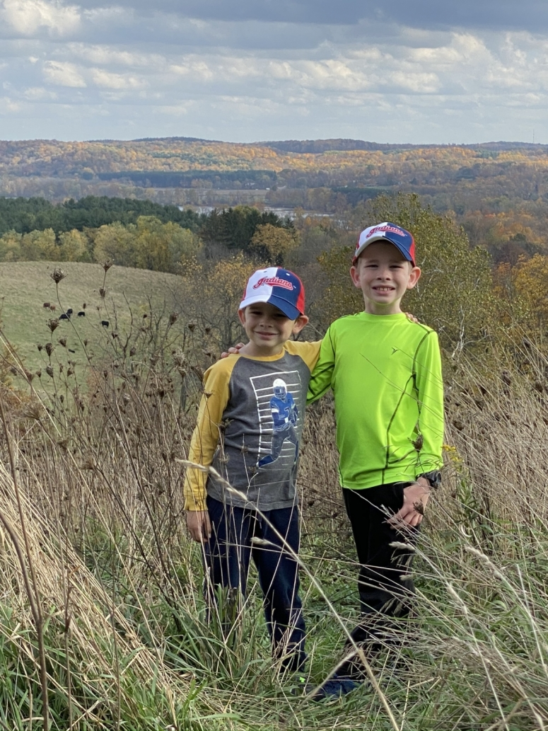 two boys on top of Mt. Jeez Overlook near Mohican State Park.