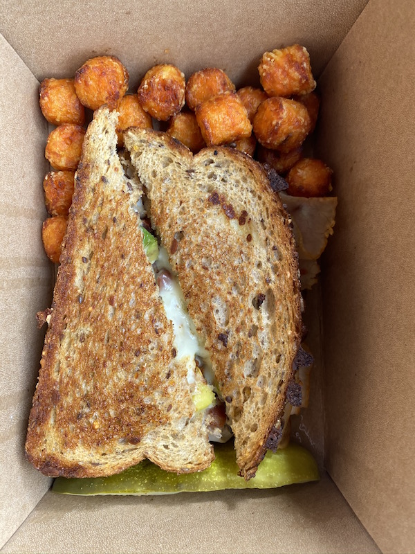sandwich and tots from Black Fork Bistro.
