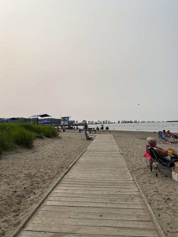boardwalk at fairport harbor beach.