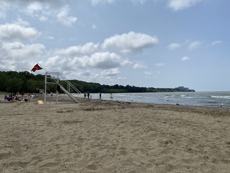 lake erie beach at Edgewater Park in Cleveland, Ohio.