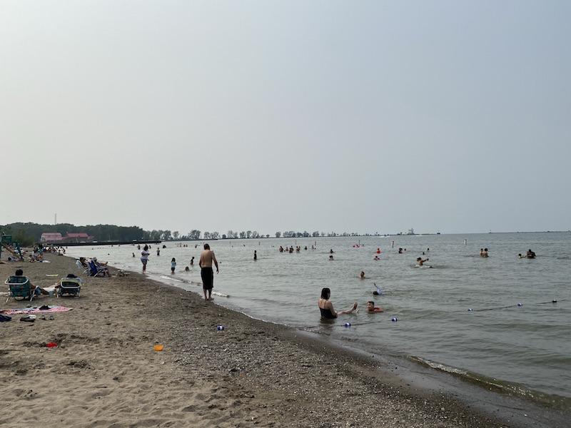 lake erie beach at Fairport Harbor, Ohio.