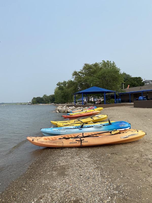 kayaks on the beach at Fairport Harbor, Ohio.