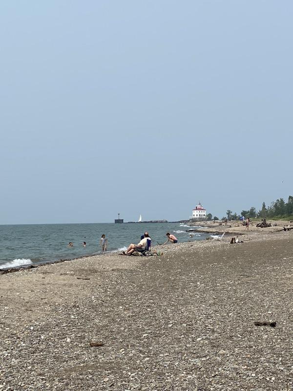 Lake Erie beach at Headlands Beach State Park.