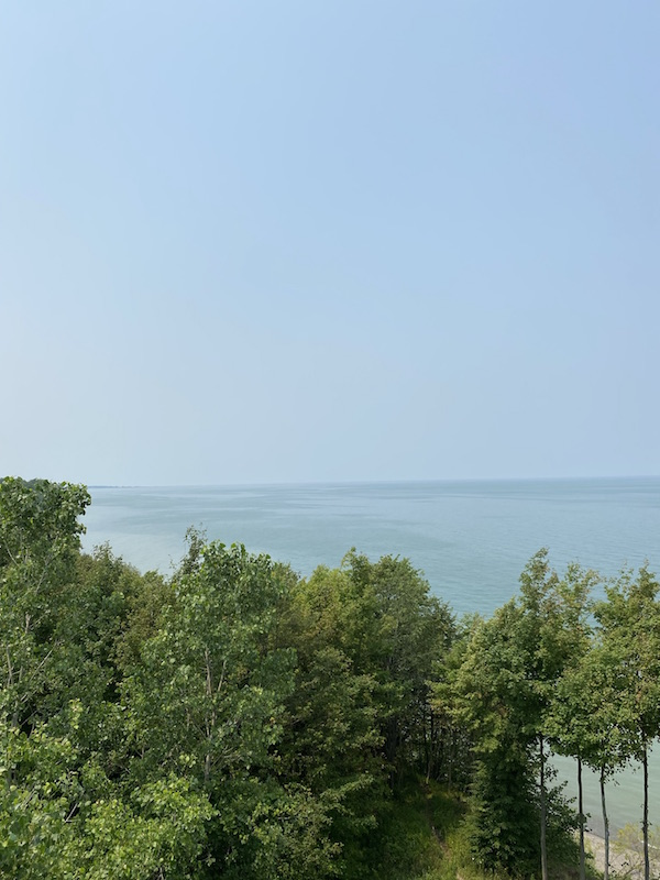 view of Lake Erie from the Coastal Observation Tower at Lake Erie Bluffs.