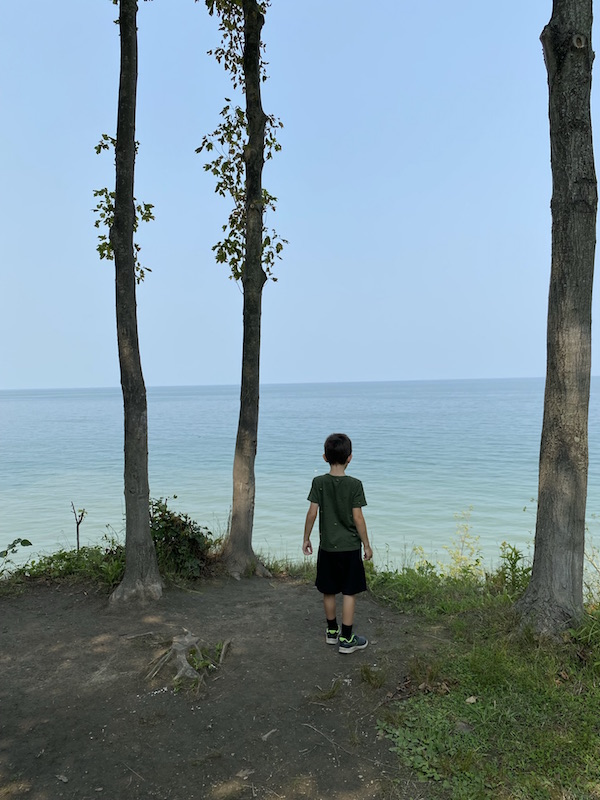 A boy overlooking Lake Erie from a cliff above.
