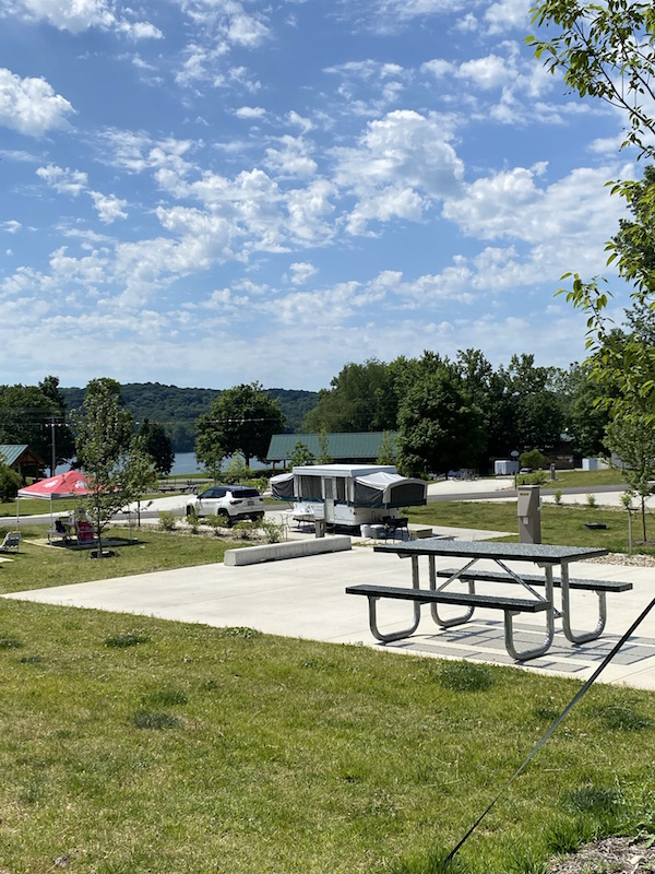 camping site with picnic table at Pleasant Hill Lake Park.