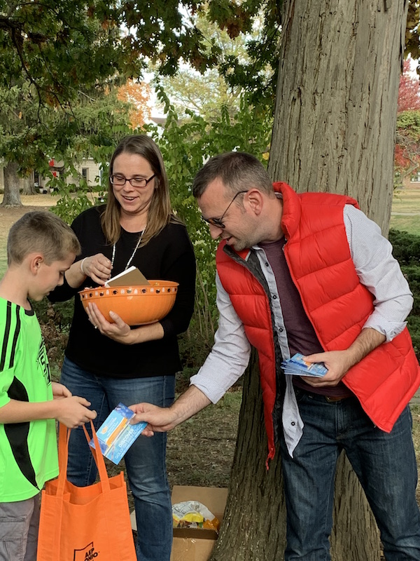 handing out candy in Westgate Park.